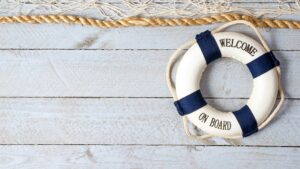 A bouy on a dock to signify sales onboarding.