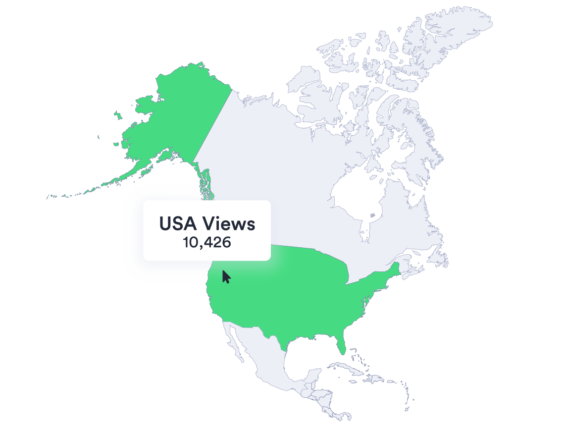 Vidyard analytics center shows a map of North America - which displays the number of video views from the USA