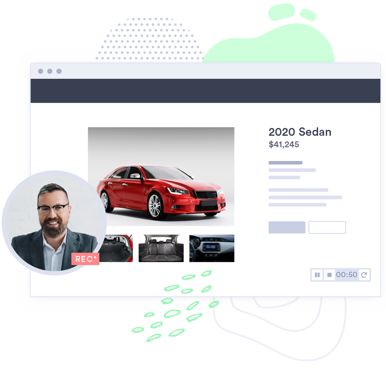 A salesman shares vehicle listings with a client through a personalized video.