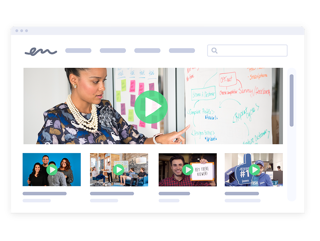 Video hubs that collect all your marketing videos in one place is available with Vidyard's online video marketing platform