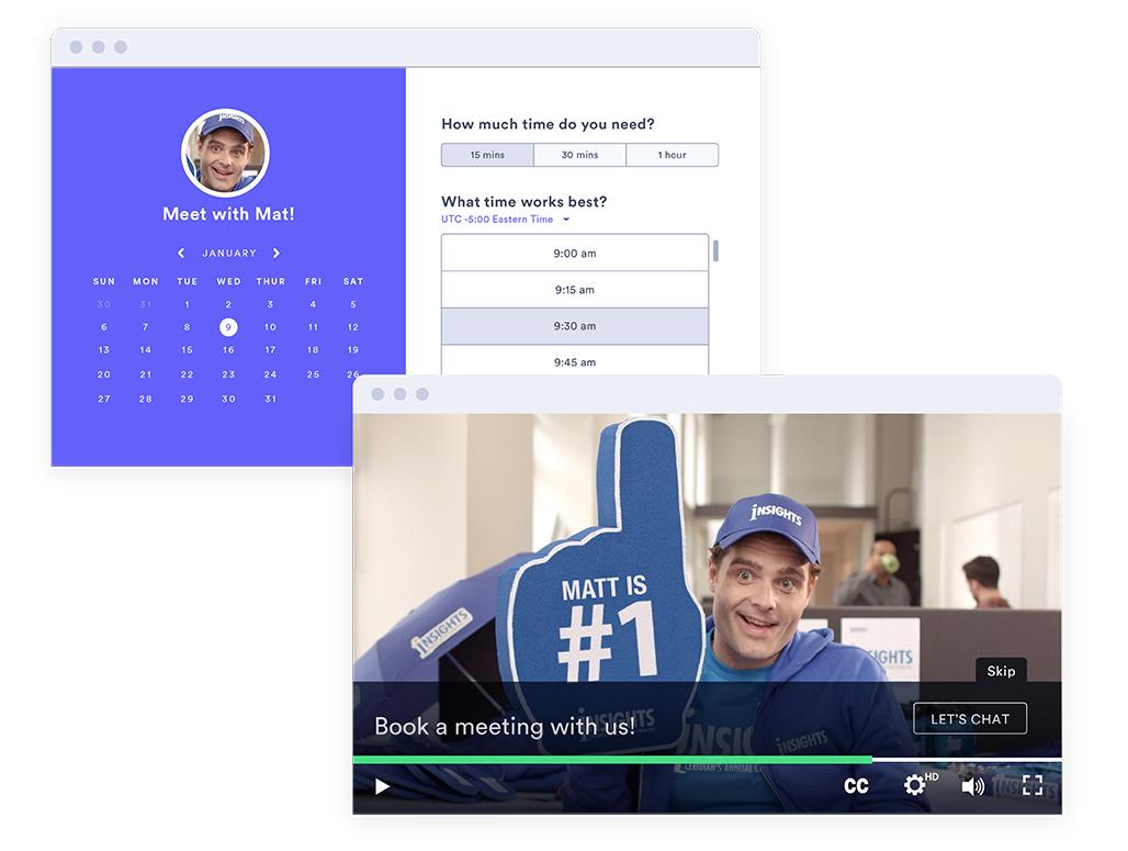 An example of how a button inside a video for sales can drive next steps for virtual selling.