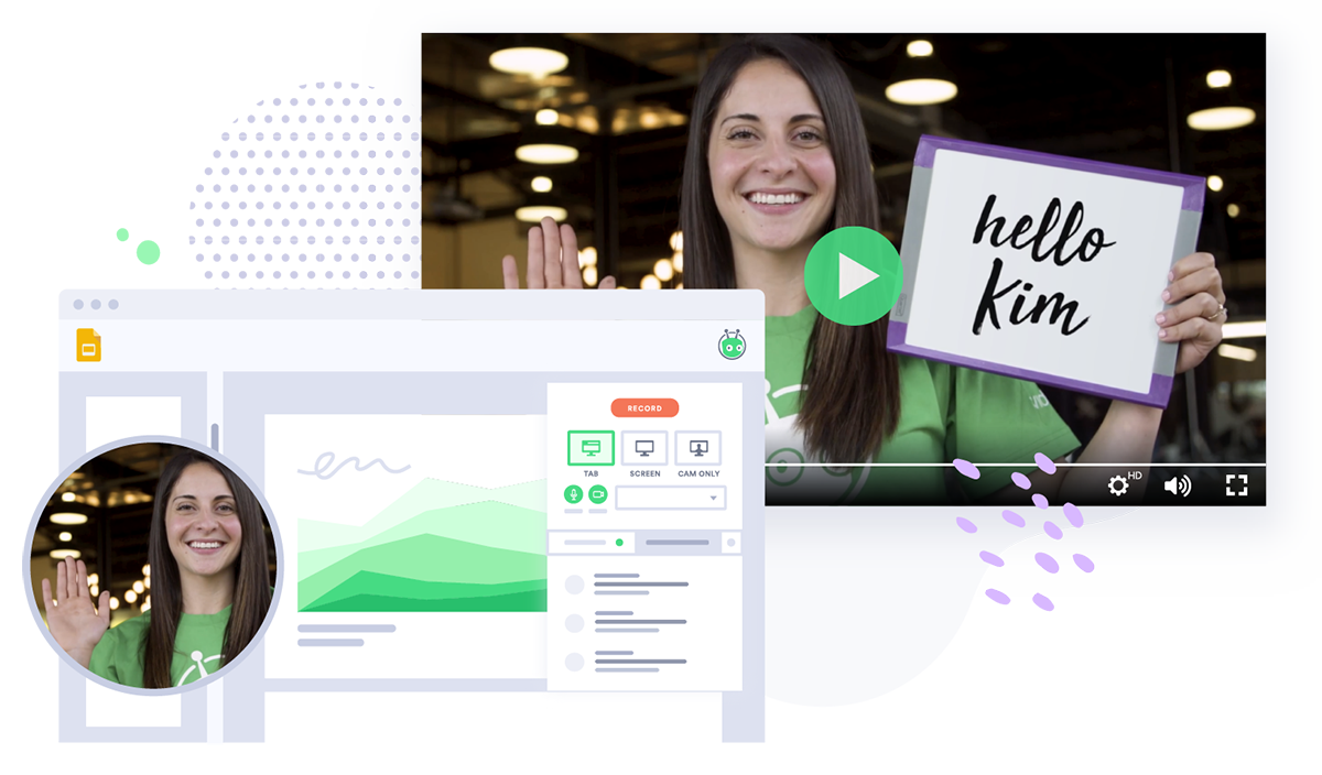 Business professional uses Vidyard to record a video and sends it via her email client