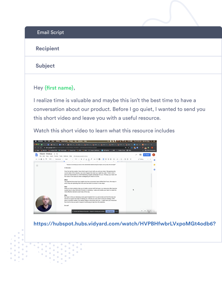 An email template for virtual selling with video.