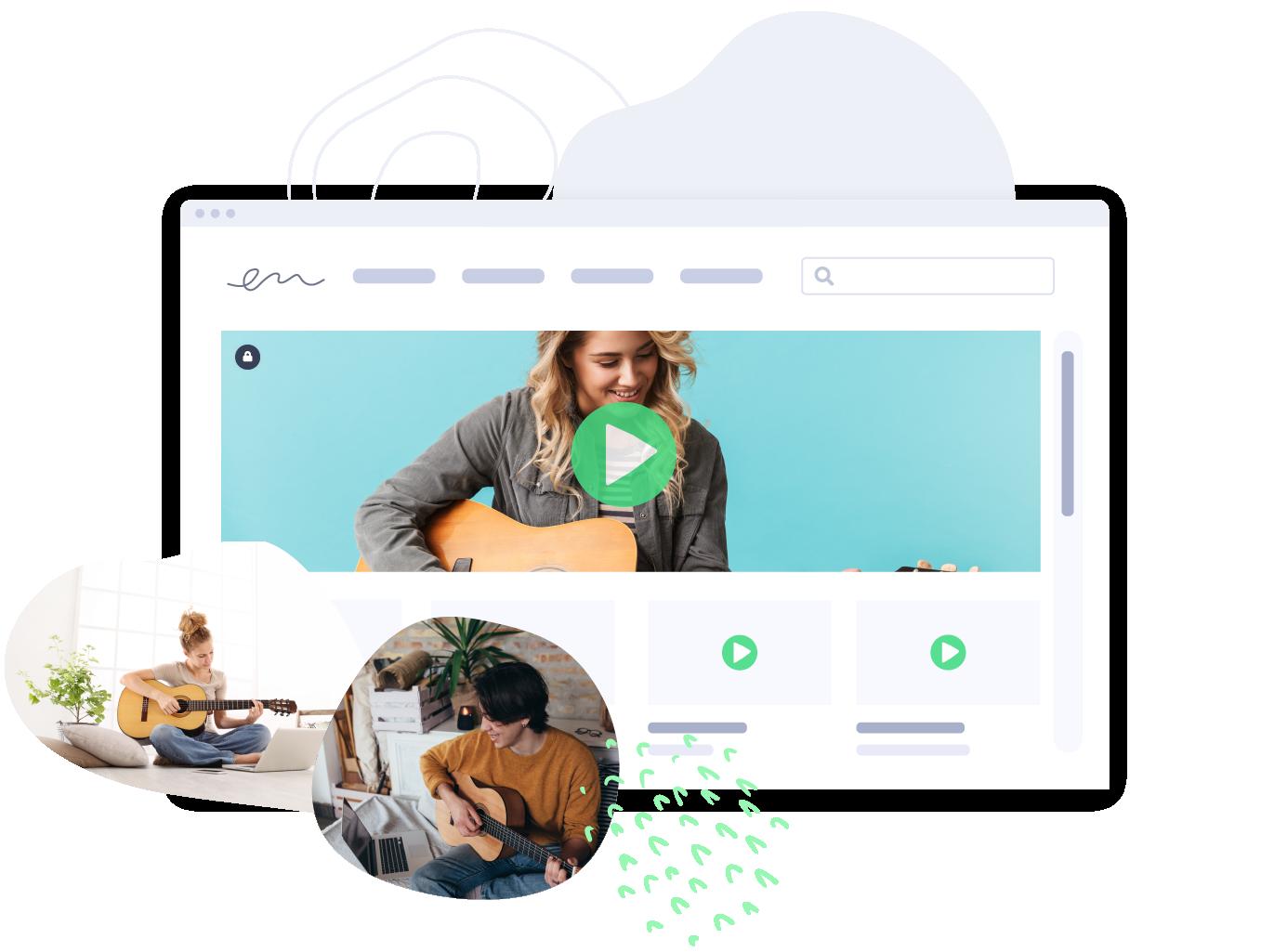 Aspiring musicians use Vidyard for online lessons.